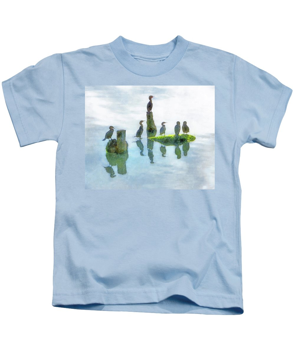 Birds Kids T-Shirt featuring the digital art Watersky Birds by Francesa Miller