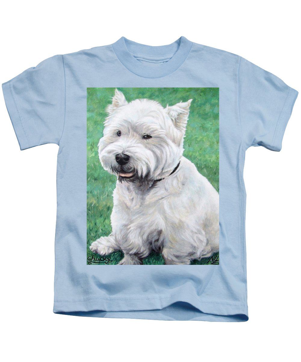 Dog Kids T-Shirt featuring the painting West Highland Terrier by Nicole Zeug
