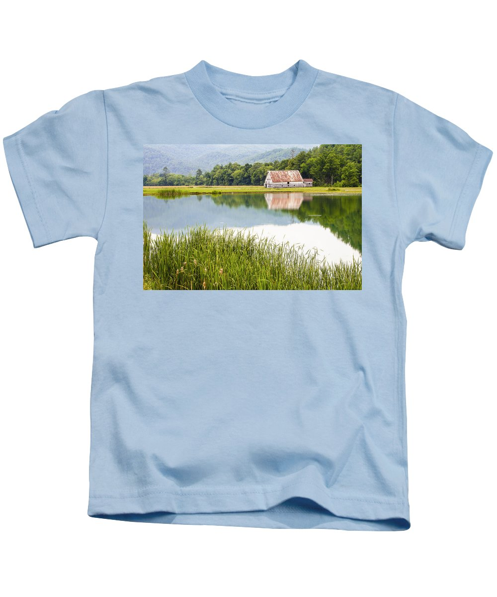 Barn Kids T-Shirt featuring the photograph West Virginia Barn Reflected In Pond  by Bill Swindaman