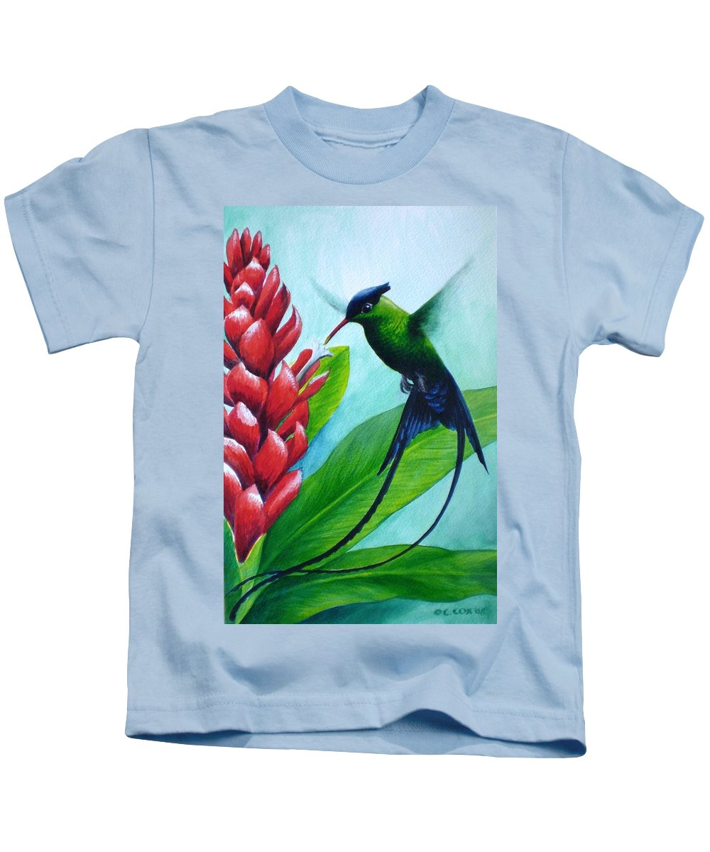 Western Streamertail Hummingbird Kids T-Shirt featuring the painting Western Streamertail Hummingbird by Christopher Cox