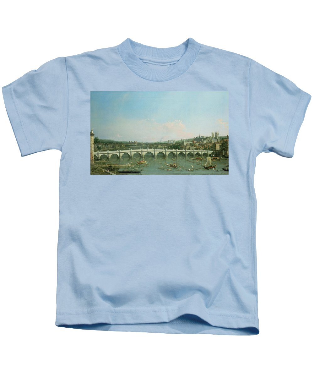 Canaletto Kids T-Shirt featuring the painting Westminster Bridge From The North With Lambeth Palace In Distance by Canaletto