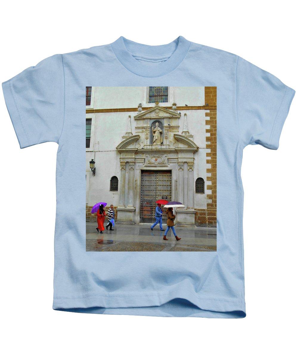 Landscape Kids T-Shirt featuring the photograph Wet People Door Cadiz by Mark Victors