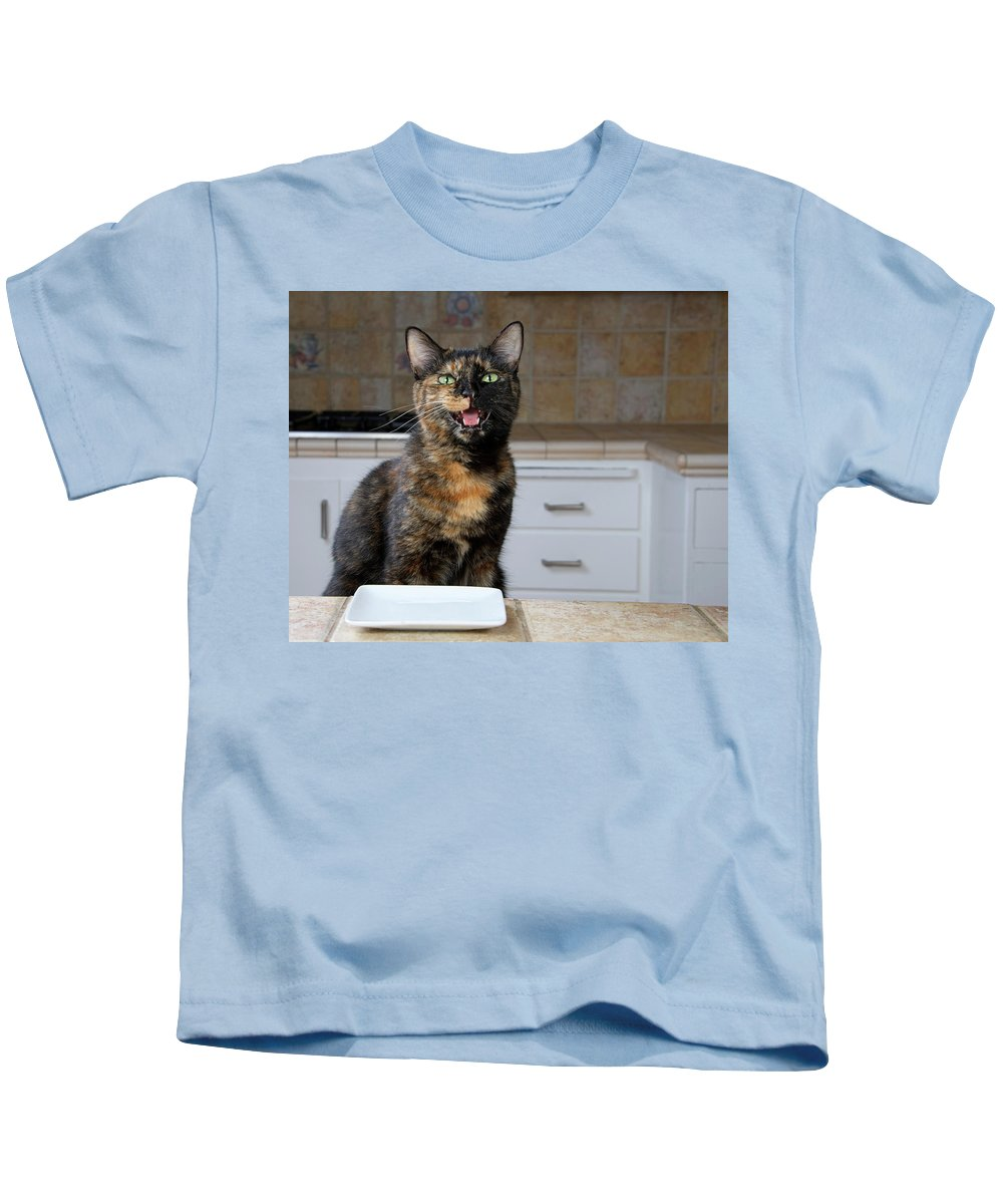 Cat Kids T-Shirt featuring the photograph What's For Dinner? by Sheila Fitzgerald