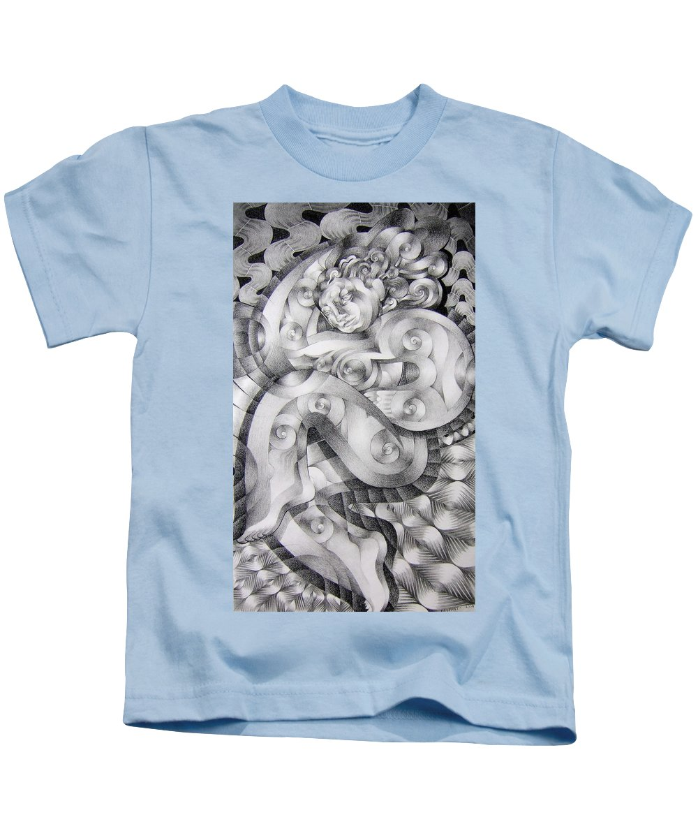 Art Kids T-Shirt featuring the drawing Whim by Myron Belfast
