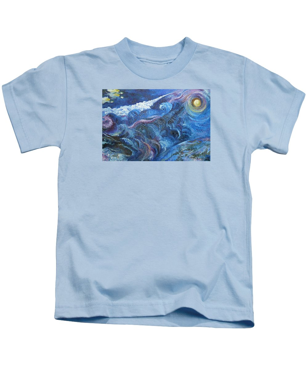Baby Lambs Kids T-Shirt featuring the painting White Baby Lambs of Peaceful Nights by Karina Ishkhanova