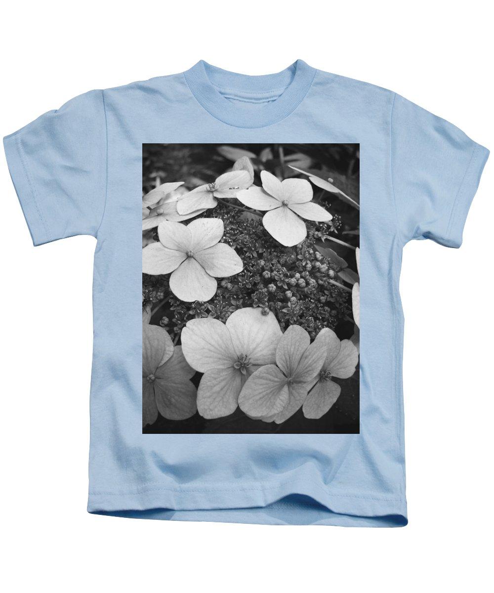 Hydrangea Kids T-Shirt featuring the photograph White On Black Hydrangea Petals by Tammy Hankins