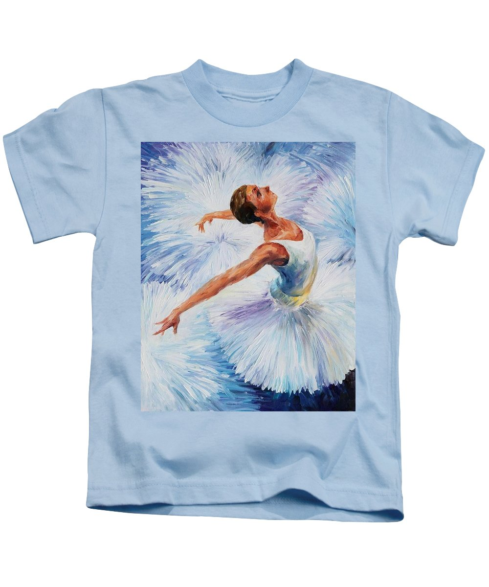 Afremov Kids T-Shirt featuring the painting White Swan by Leonid Afremov