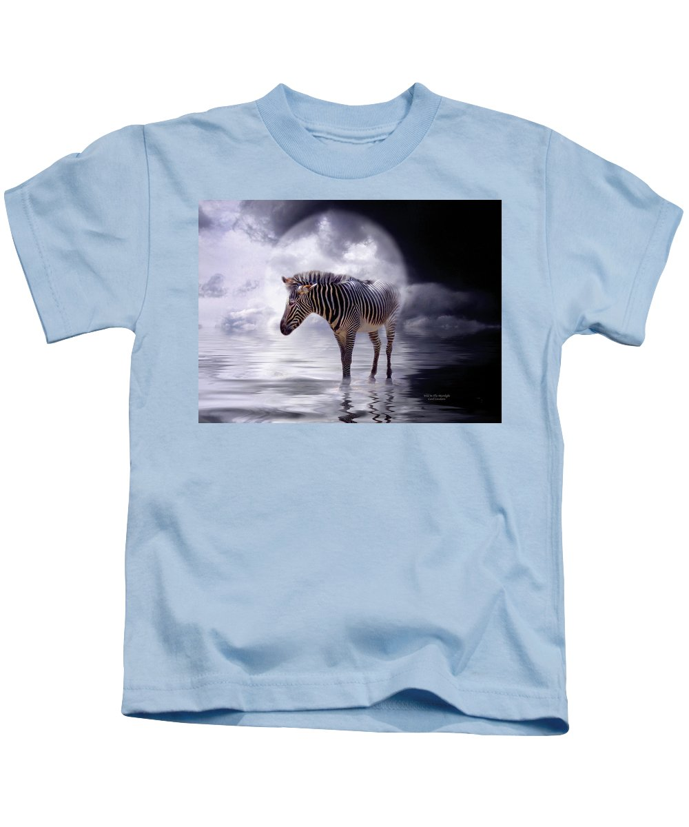 Zebra Kids T-Shirt featuring the mixed media Wild In The Moonlight by Carol Cavalaris