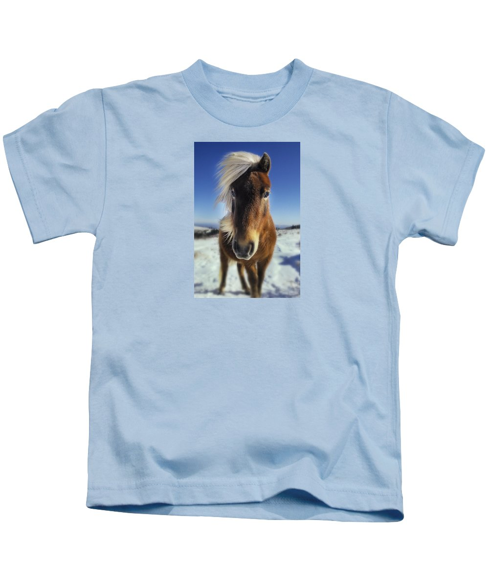 Horse Kids T-Shirt featuring the photograph Wild Thing by Frederica Georgia