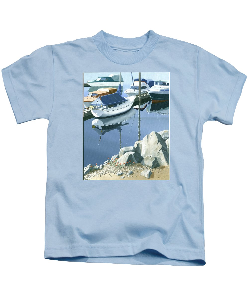 Sailboat Kids T-Shirt featuring the painting Wildflowers On The Breakwater by Gary Giacomelli