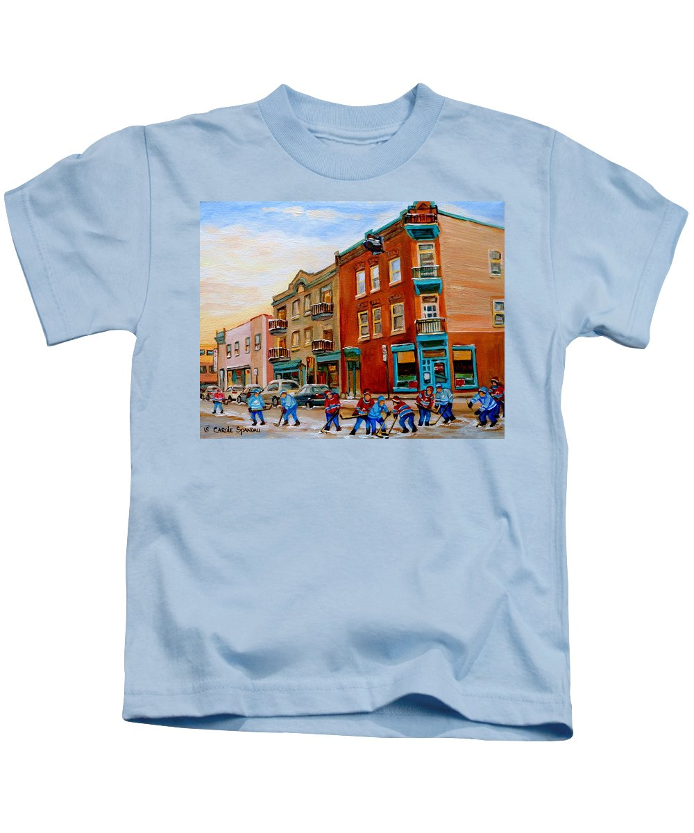Wilenskys Kids T-Shirt featuring the painting Wilenskys Diner Hockey Game In Progress by Carole Spandau