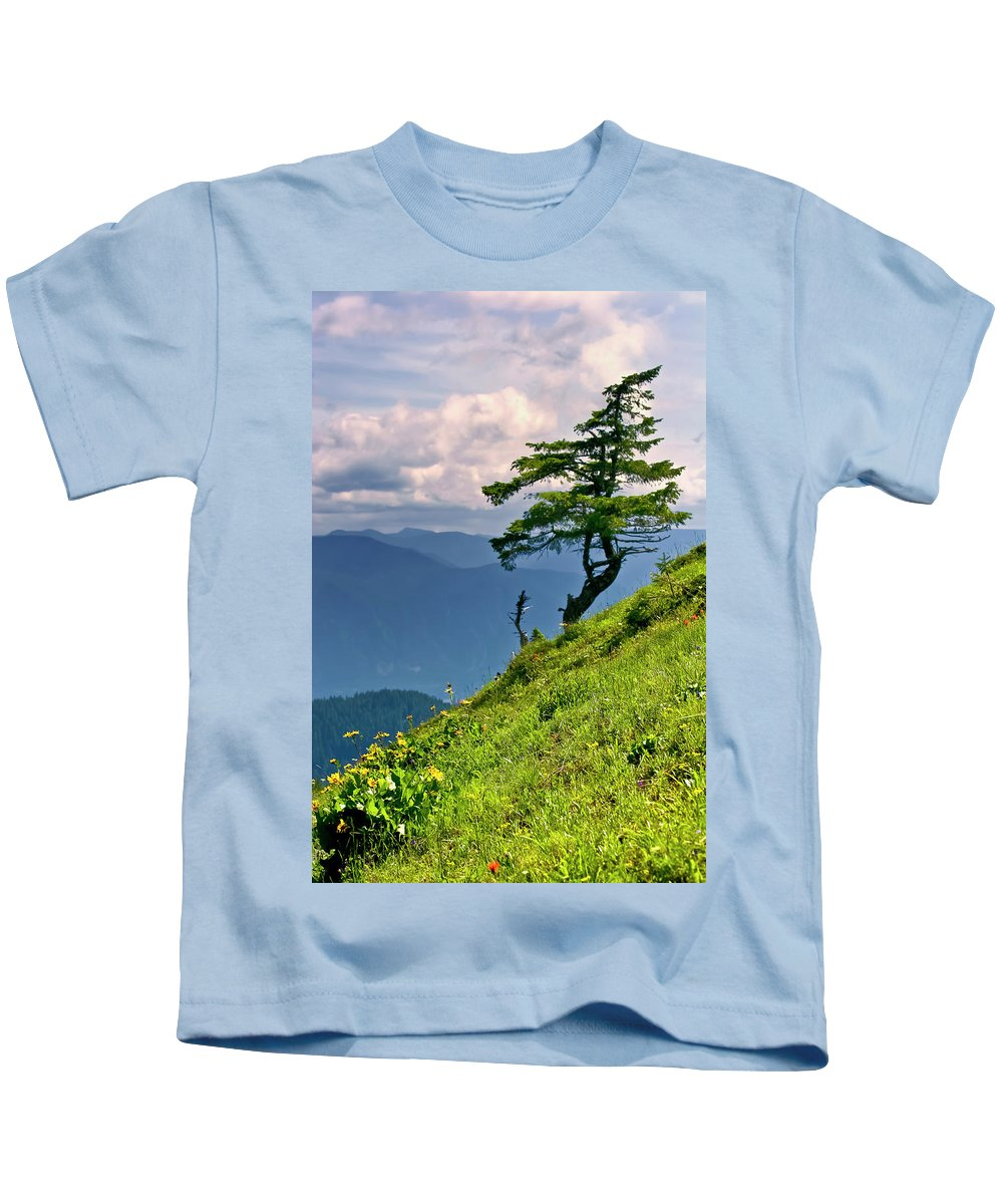 Northwest Mountains Kids T-Shirt featuring the photograph Wind Sculpted Conifer by Albert Seger