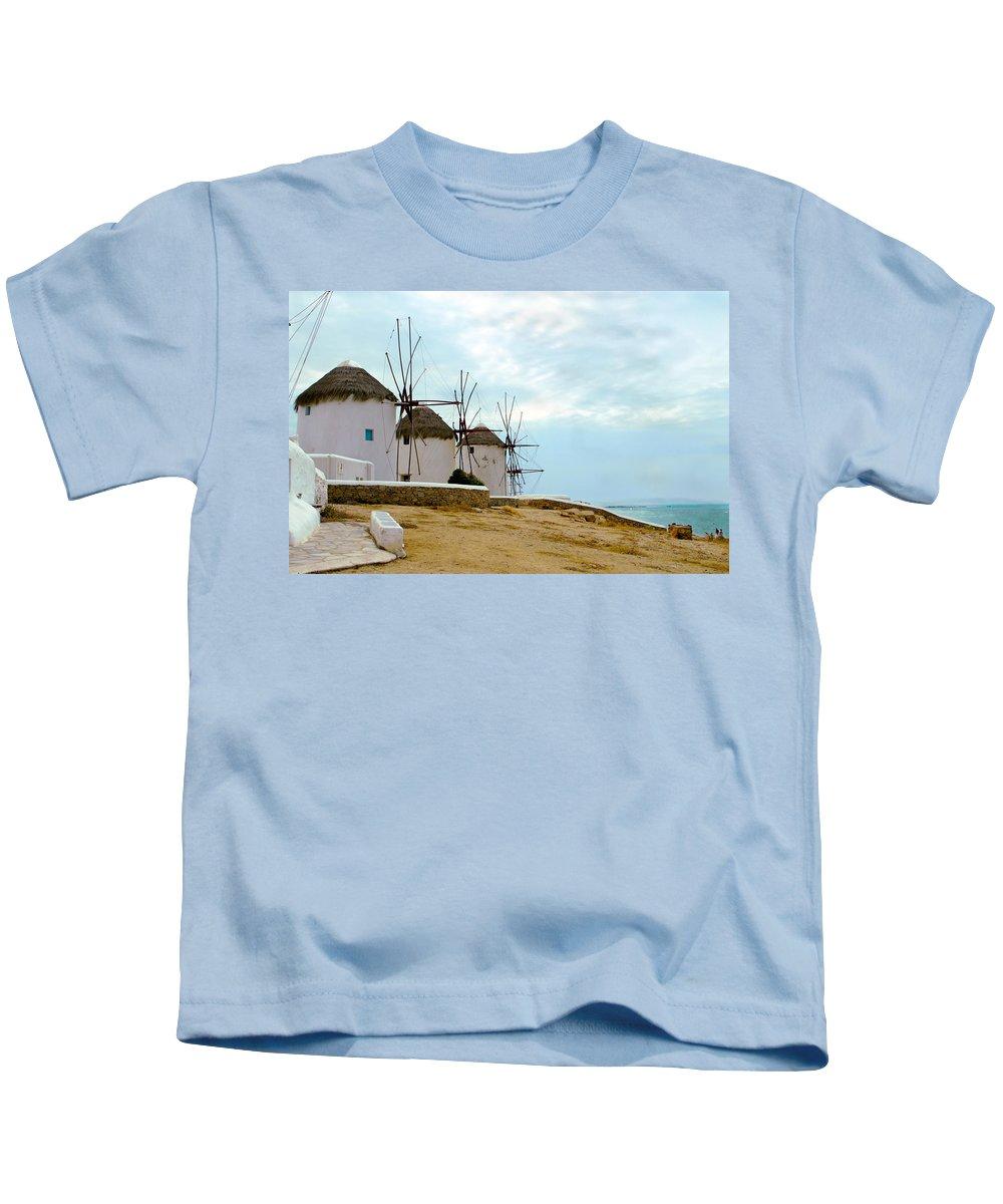 Mykonos Kids T-Shirt featuring the photograph Windmills Of Mykonos I by Madeline Ellis