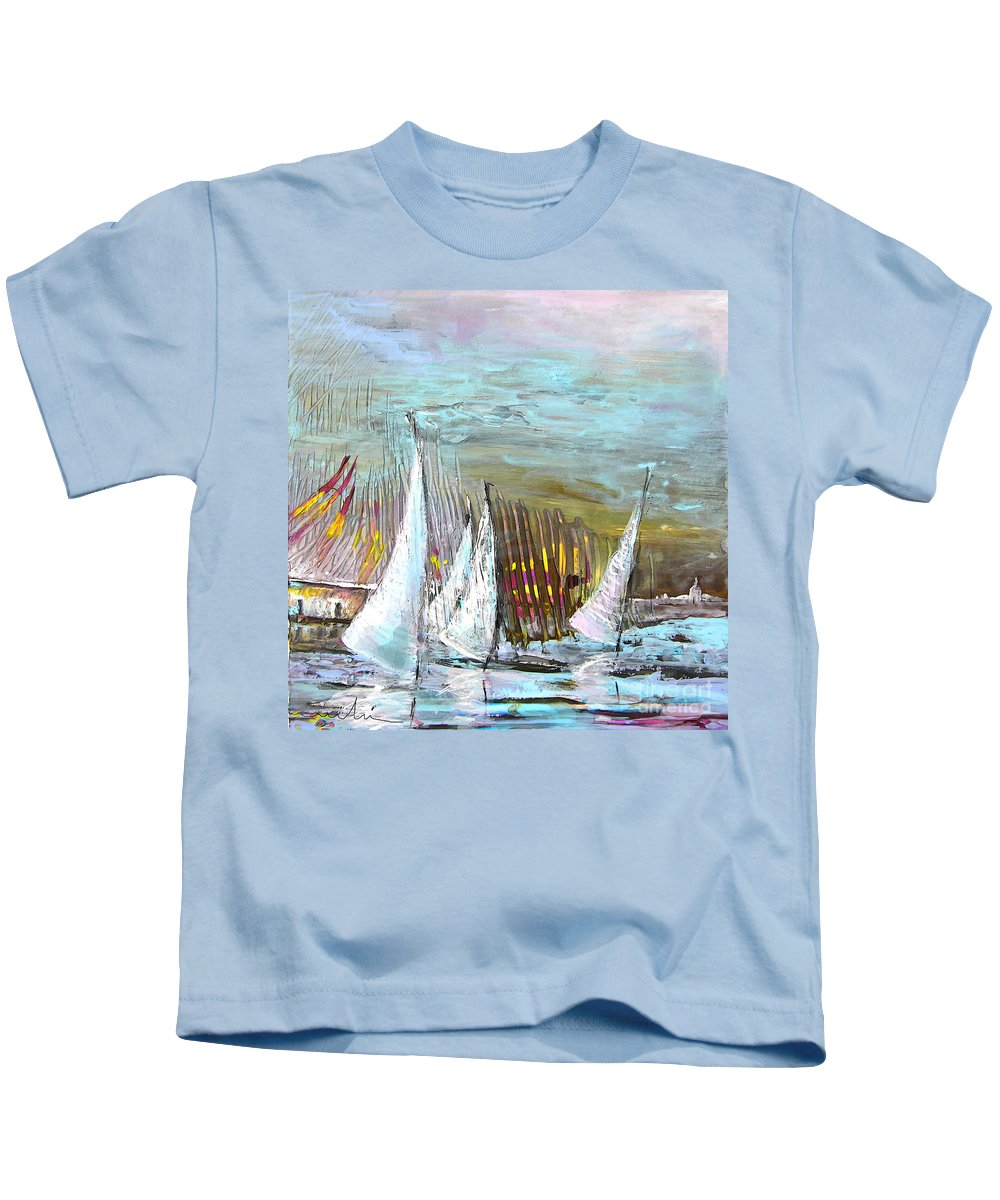 Acrylics Kids T-Shirt featuring the painting Windsurf Impression 03 by Miki De Goodaboom