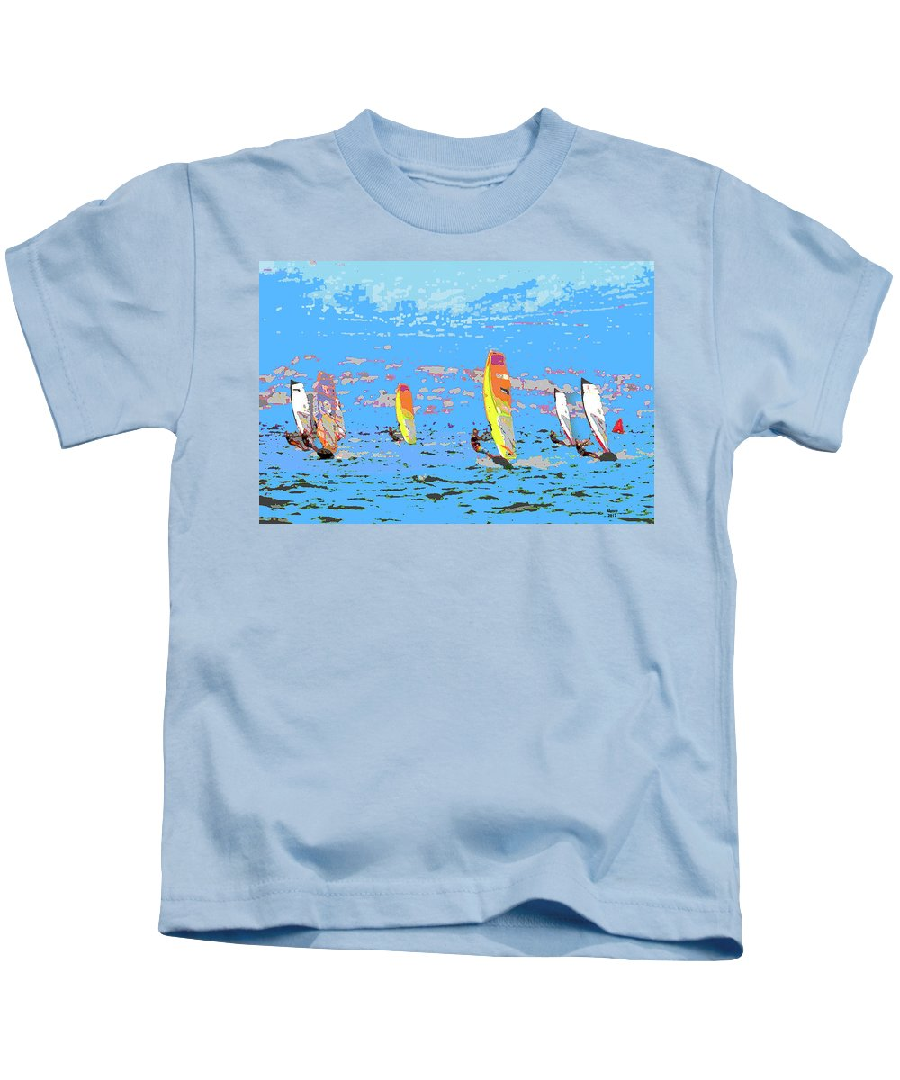 Charlie Shoup Kids T-Shirt featuring the mixed media Windsurfing by Charles Shoup