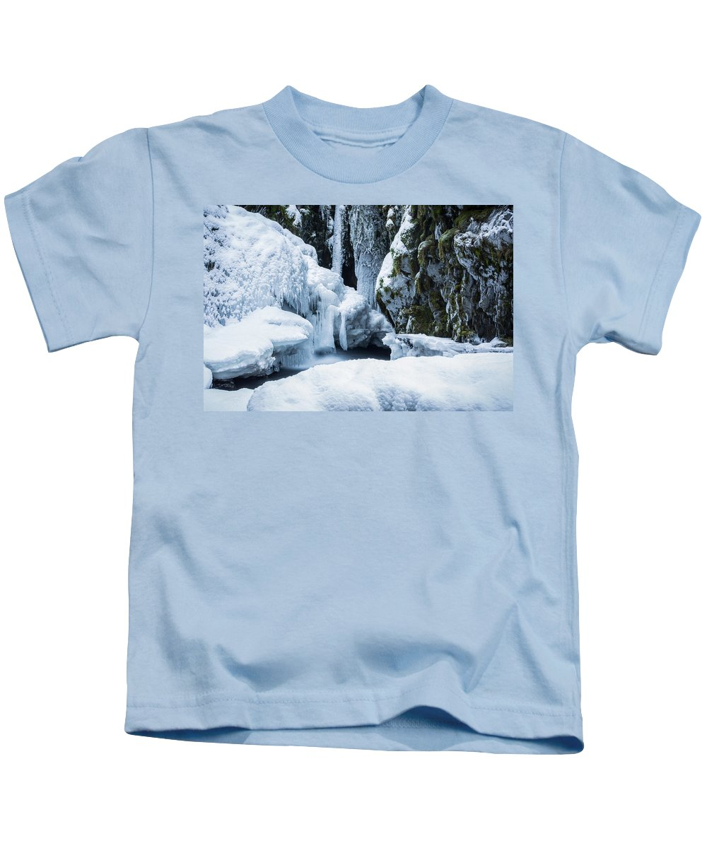 Winter Kids T-Shirt featuring the photograph Winter At Virgin Creek Falls by Matt Skinner