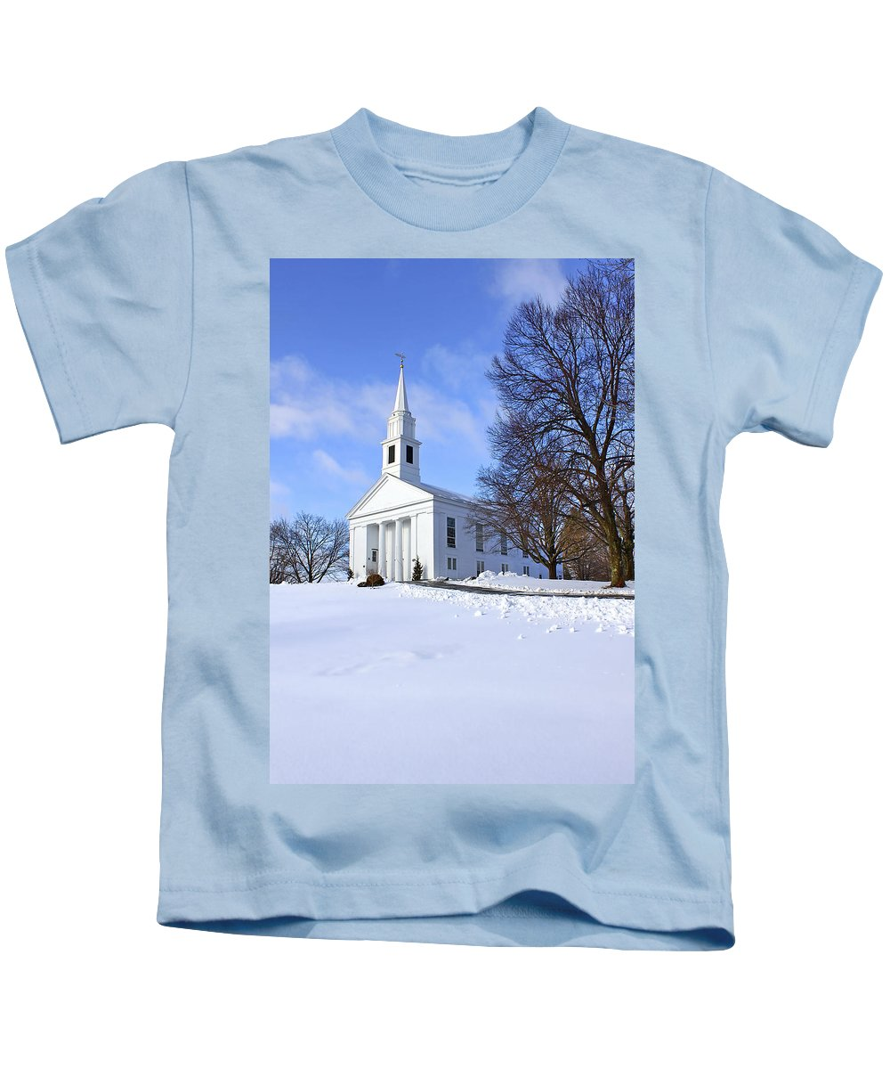 Beautiful Kids T-Shirt featuring the photograph Winter Church by Evelina Kremsdorf