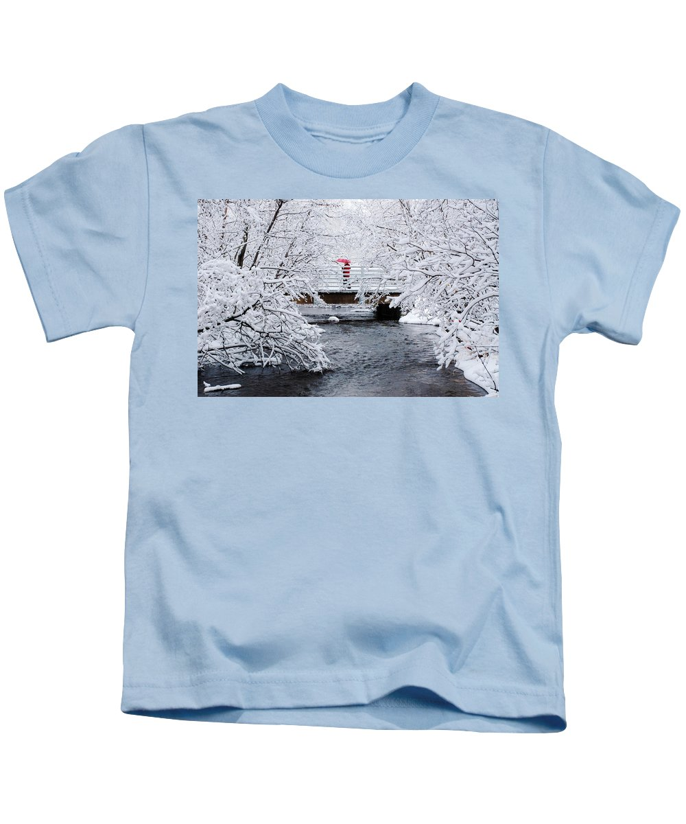 Winter Kids T-Shirt featuring the photograph Winter Crossing by Ron Day