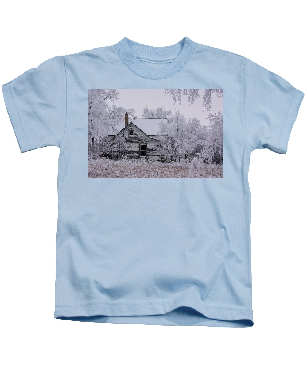 Abandoned Farm House Kids T-Shirt featuring the photograph Winter Farmstead by Jaysen Guthmueller