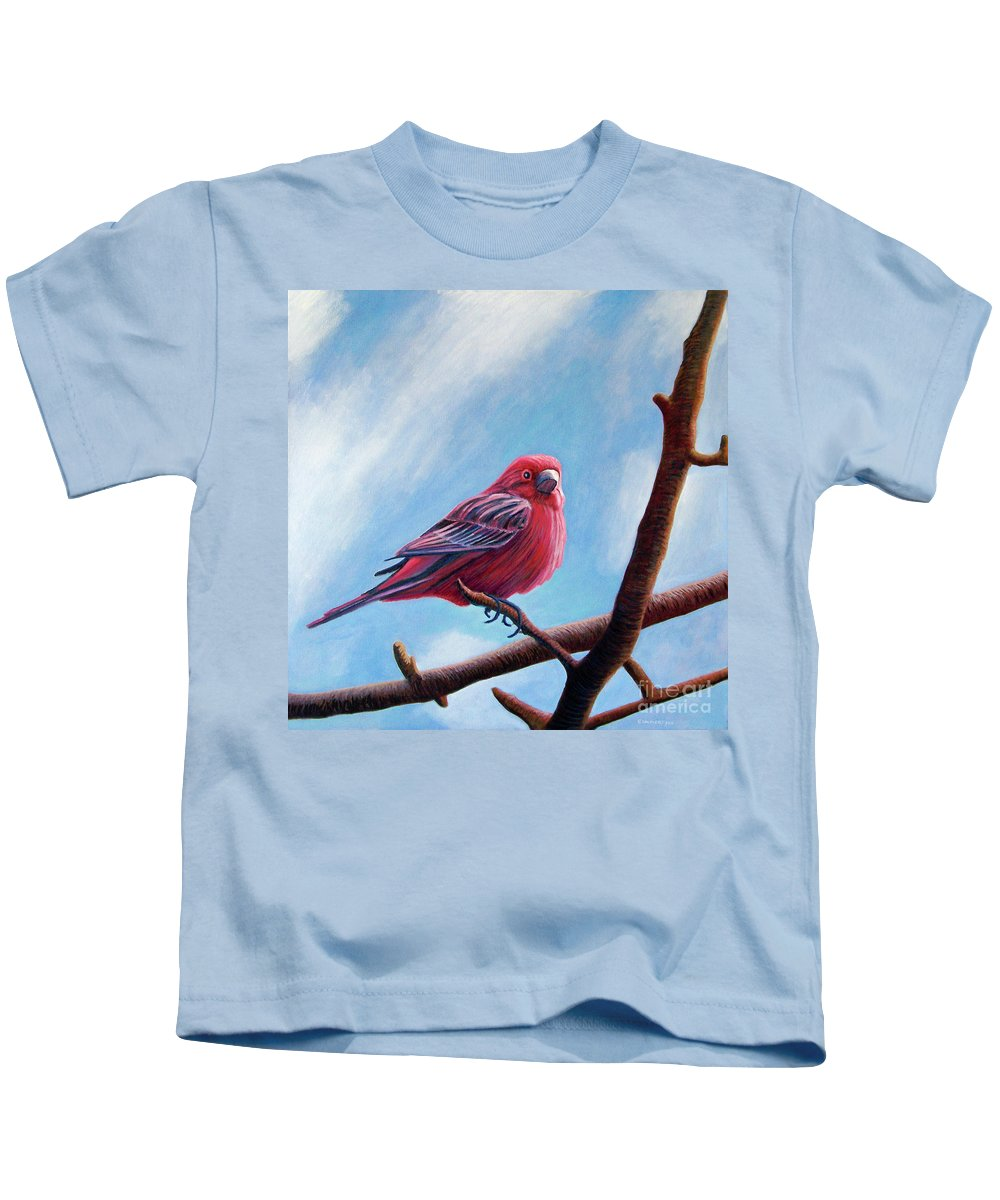 Bird Kids T-Shirt featuring the painting Winter Finch by Brian Commerford