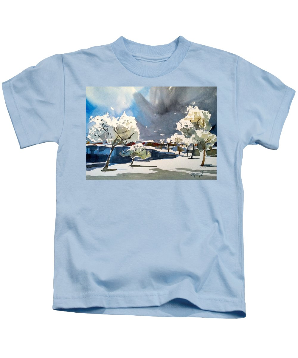 Winter Landscape Kids T-Shirt featuring the painting Winter by Ugljesa Janjic