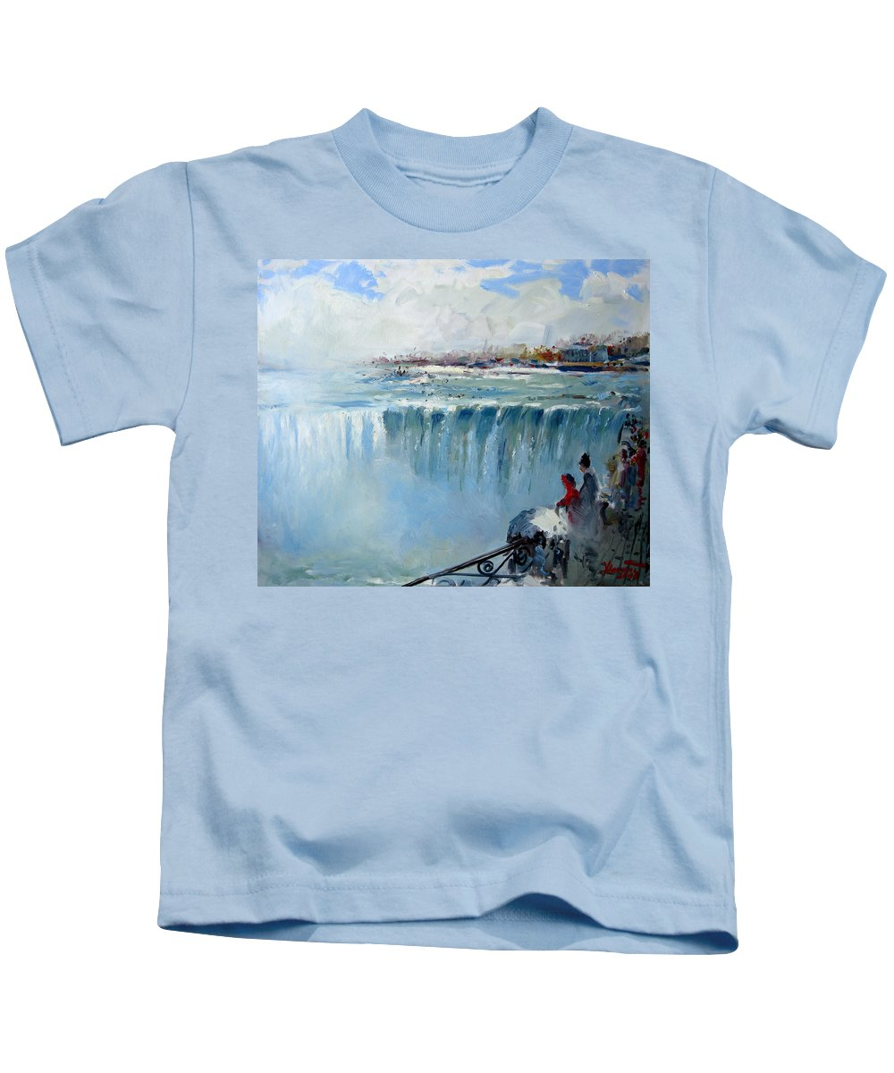 Landscape Kids T-Shirt featuring the painting Winter In Niagara Falls by Ylli Haruni