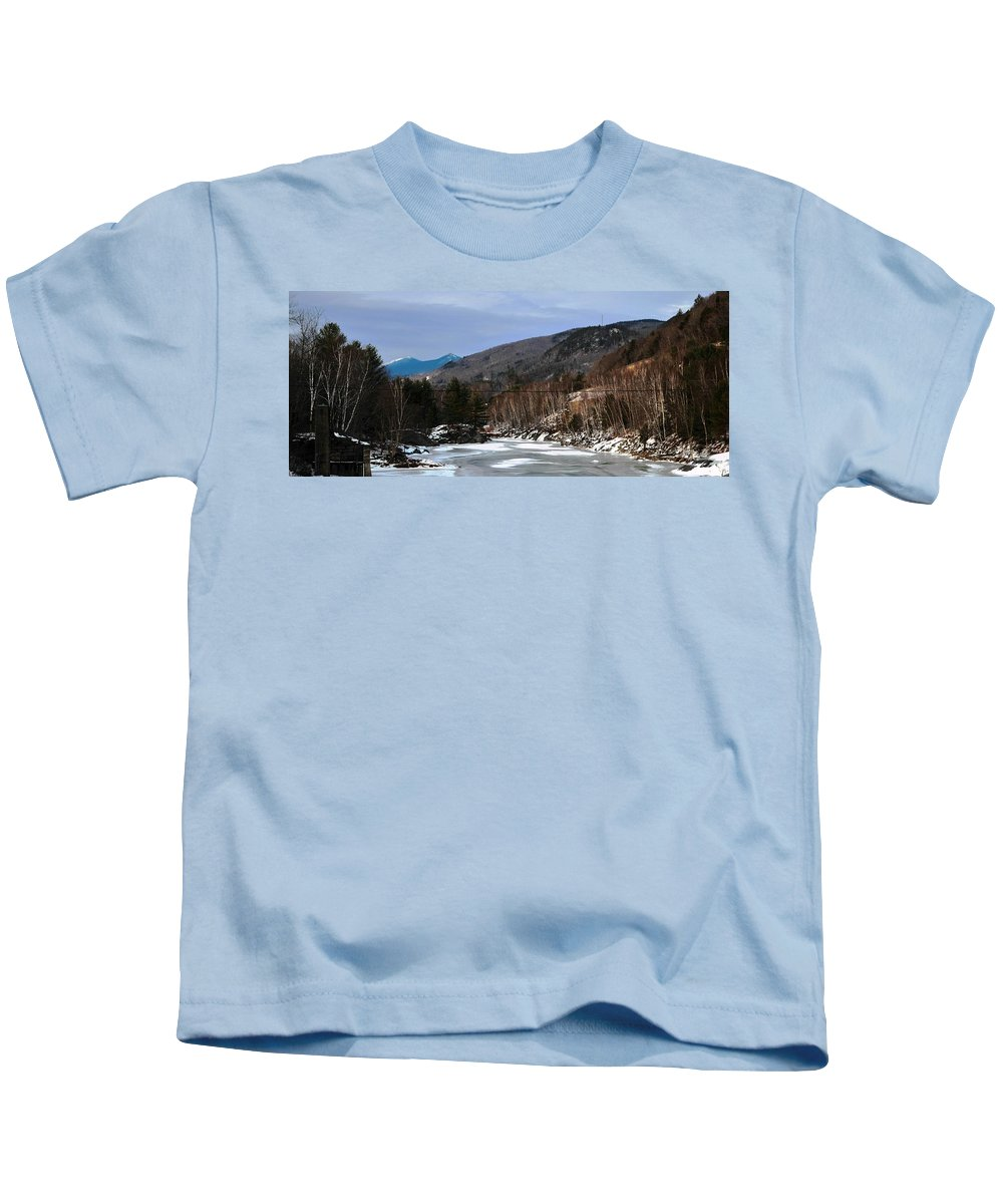 Back Roads Of New Hampshire January 28 Kids T-Shirt featuring the photograph Winter On The Pemi by Bill Driscoll