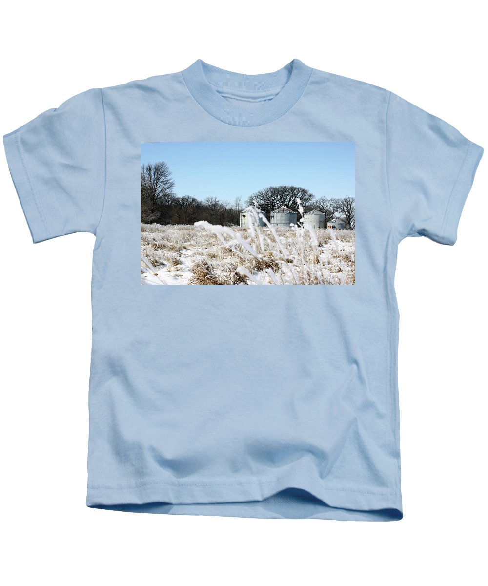Agriculture Kids T-Shirt featuring the photograph Winter On The Prairie Number 2 by Alan Look