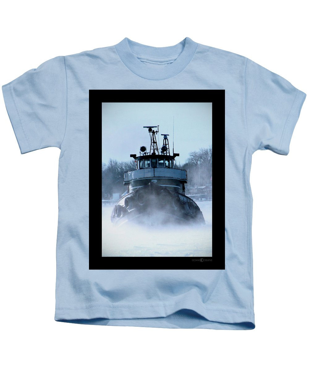 Tug Kids T-Shirt featuring the photograph Winter Tug by Tim Nyberg