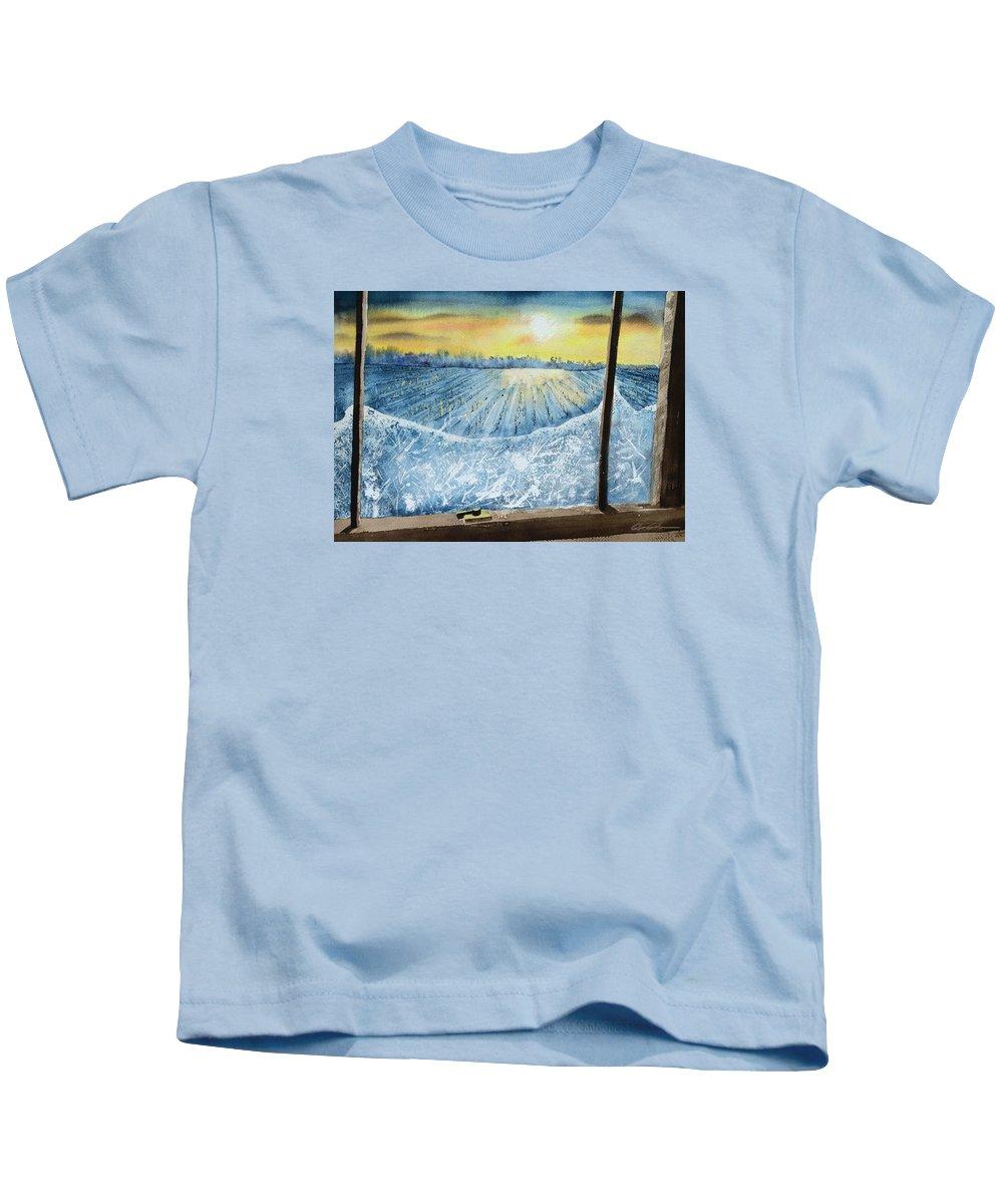 Landscape Kids T-Shirt featuring the painting Winter Window by Glenn Galen