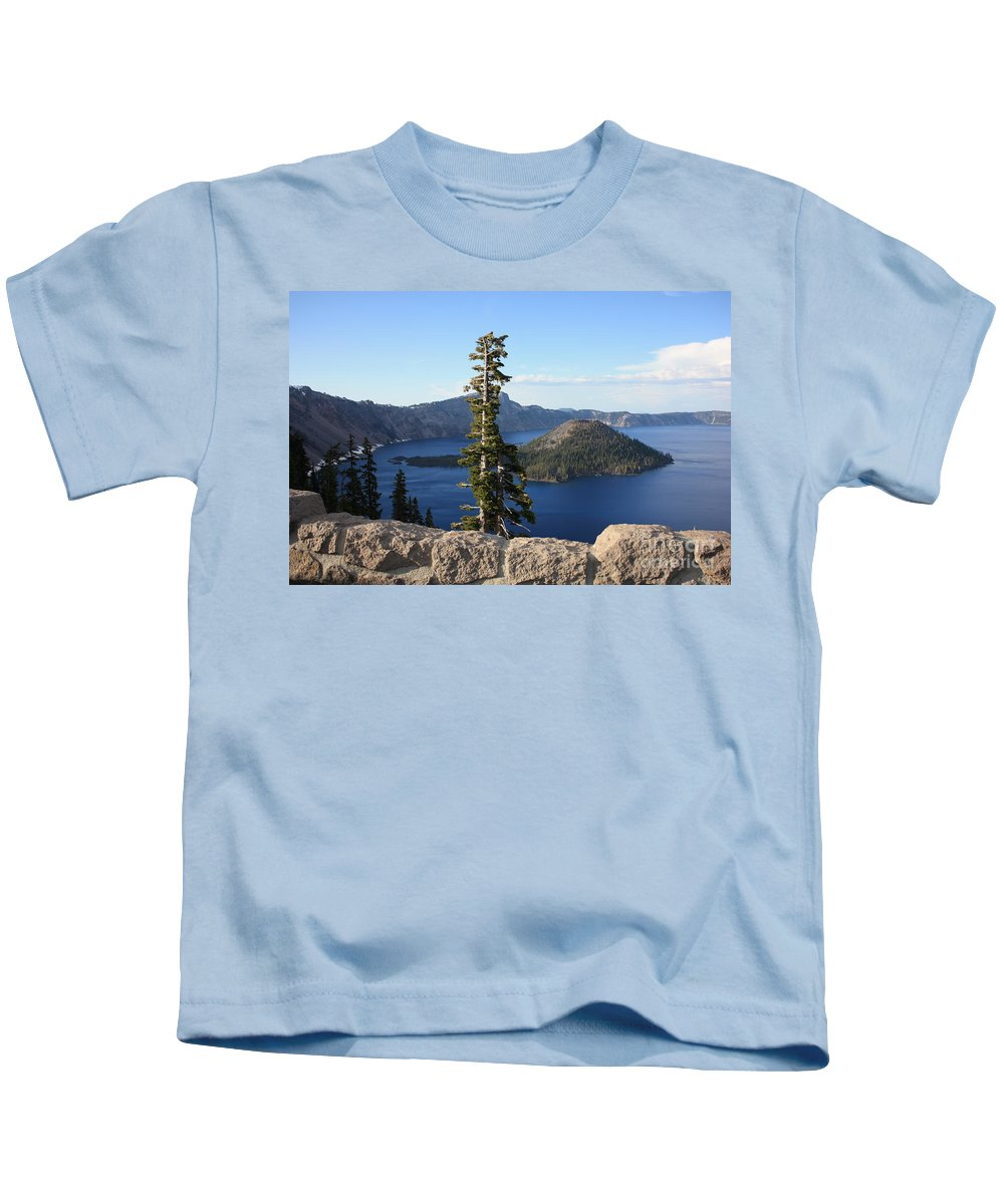 Wizard Island Kids T-Shirt featuring the photograph Wizard Island With Rock Fence At Crater Lake by Carol Groenen
