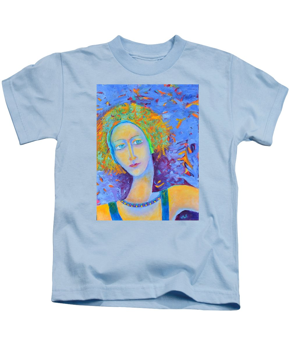 Woman Portrait Kids T-Shirt featuring the painting Woman Oil Portrait by Magdalena Walulik