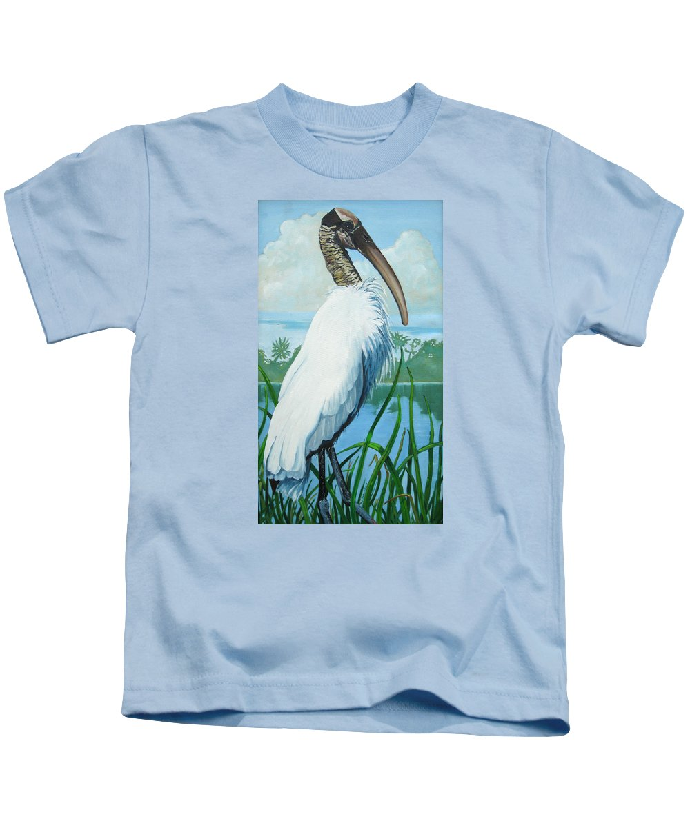 Bird Kids T-Shirt featuring the painting Wood Stork by D T LaVercombe
