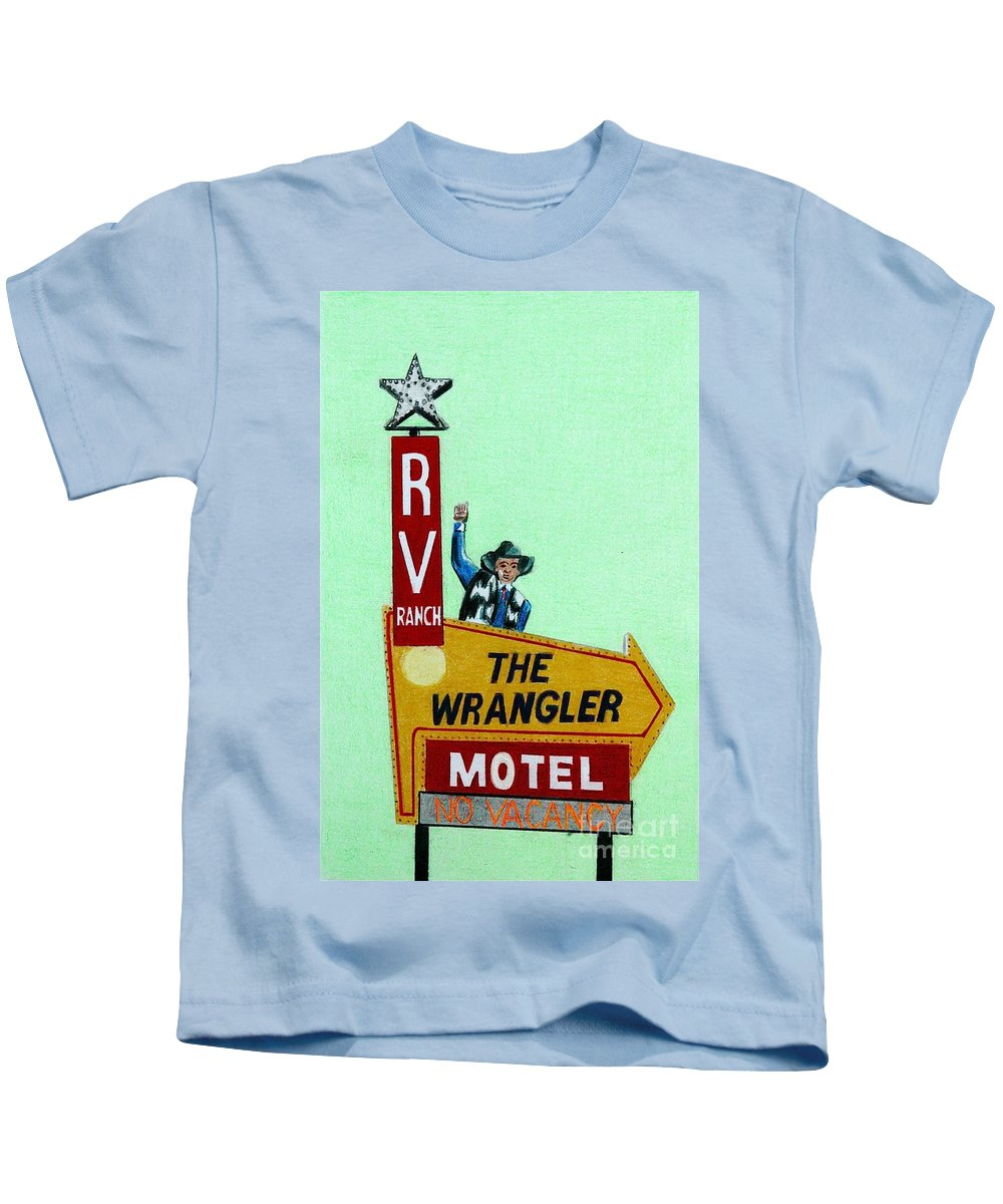 Vintage Kids T-Shirt featuring the drawing Wrangler Motel by Glenda Zuckerman