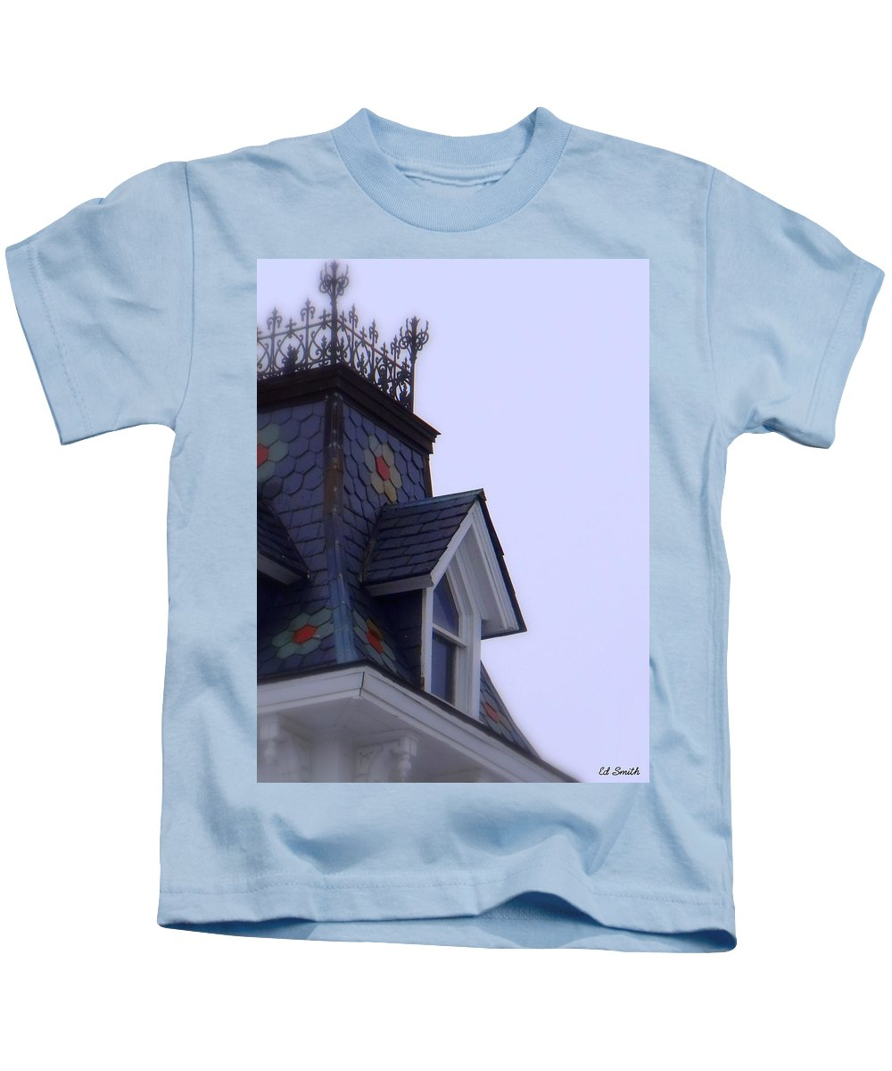 Wrought Iron Antique Roof Top Kids T-Shirt featuring the photograph Wrought Iron Roof Top by Edward Smith