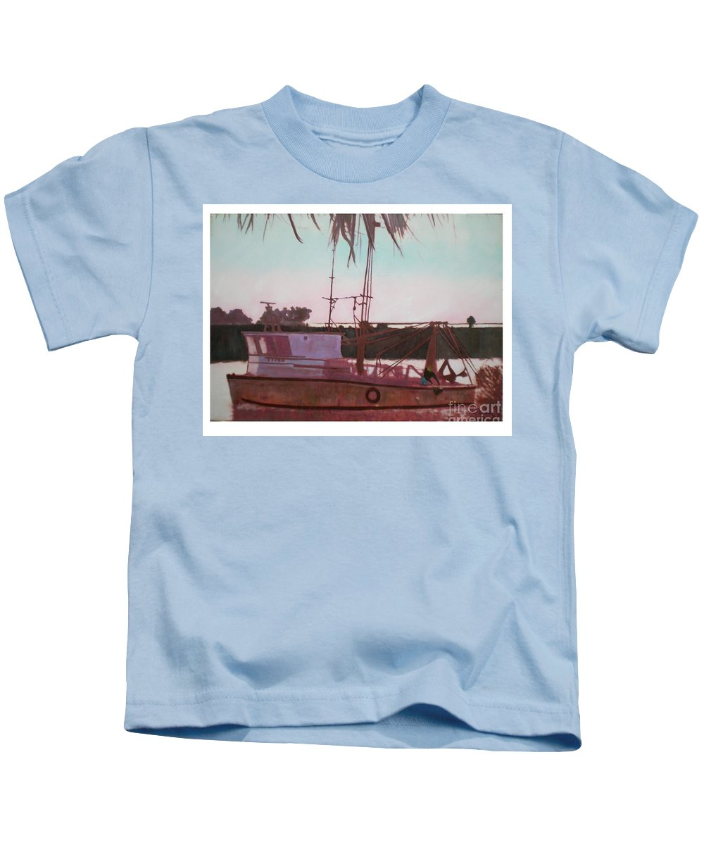 Seascape Kids T-Shirt featuring the digital art Yankee Town Fishing Boat by Hal Newhouser