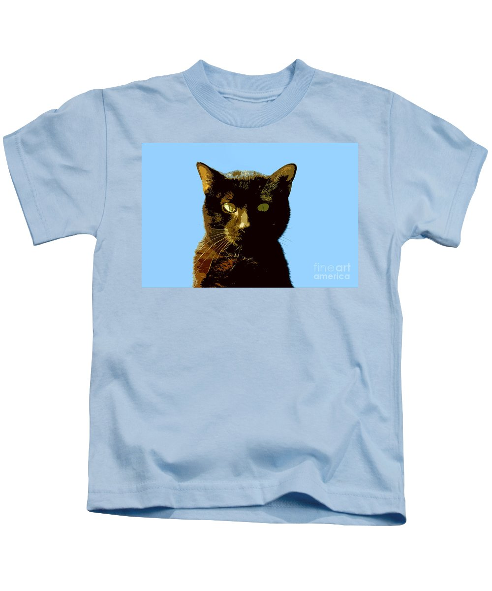 Cat Kids T-Shirt featuring the painting Yellow Eyes by David Lee Thompson