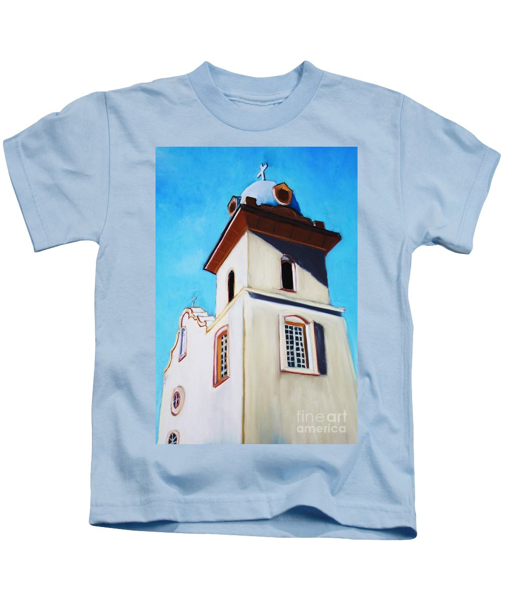 Ysleta Kids T-Shirt featuring the painting Ysleta Mission by Melinda Etzold