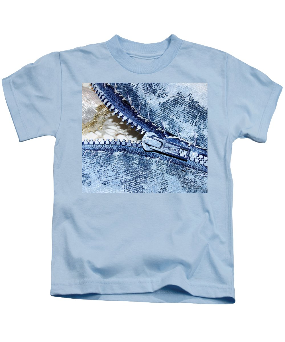 Painting Kids T-Shirt featuring the painting Zipper In Blue by Nancy Mueller