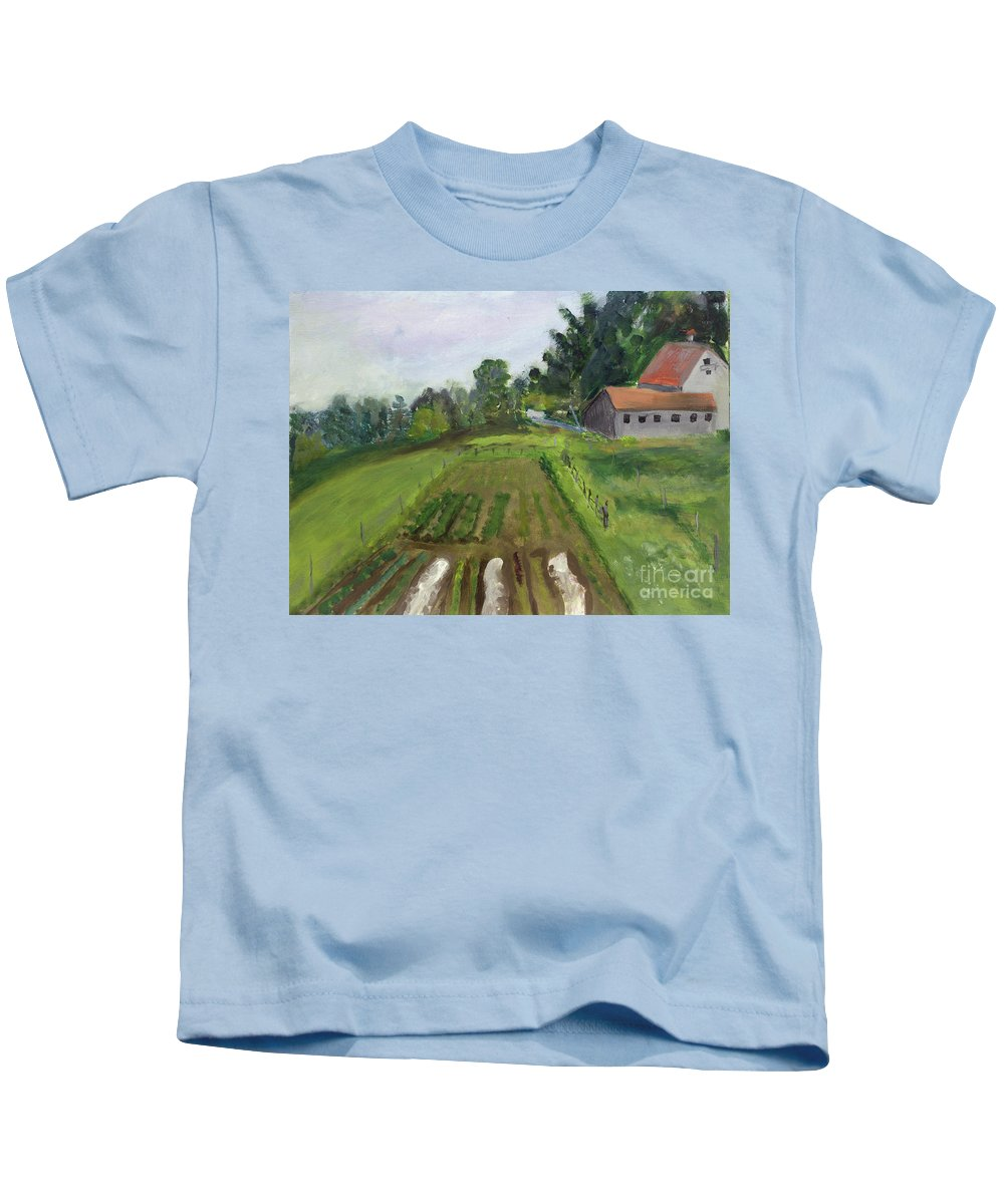 Art Kids T-Shirt featuring the painting Bluff Farm In Newport by Donna Walsh
