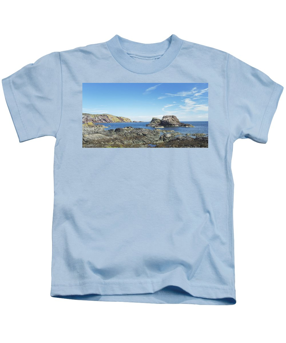 Sea Kids T-Shirt featuring the photograph cliffs and coast at St. Abbs, Berwickshire by Victor Lord Denovan