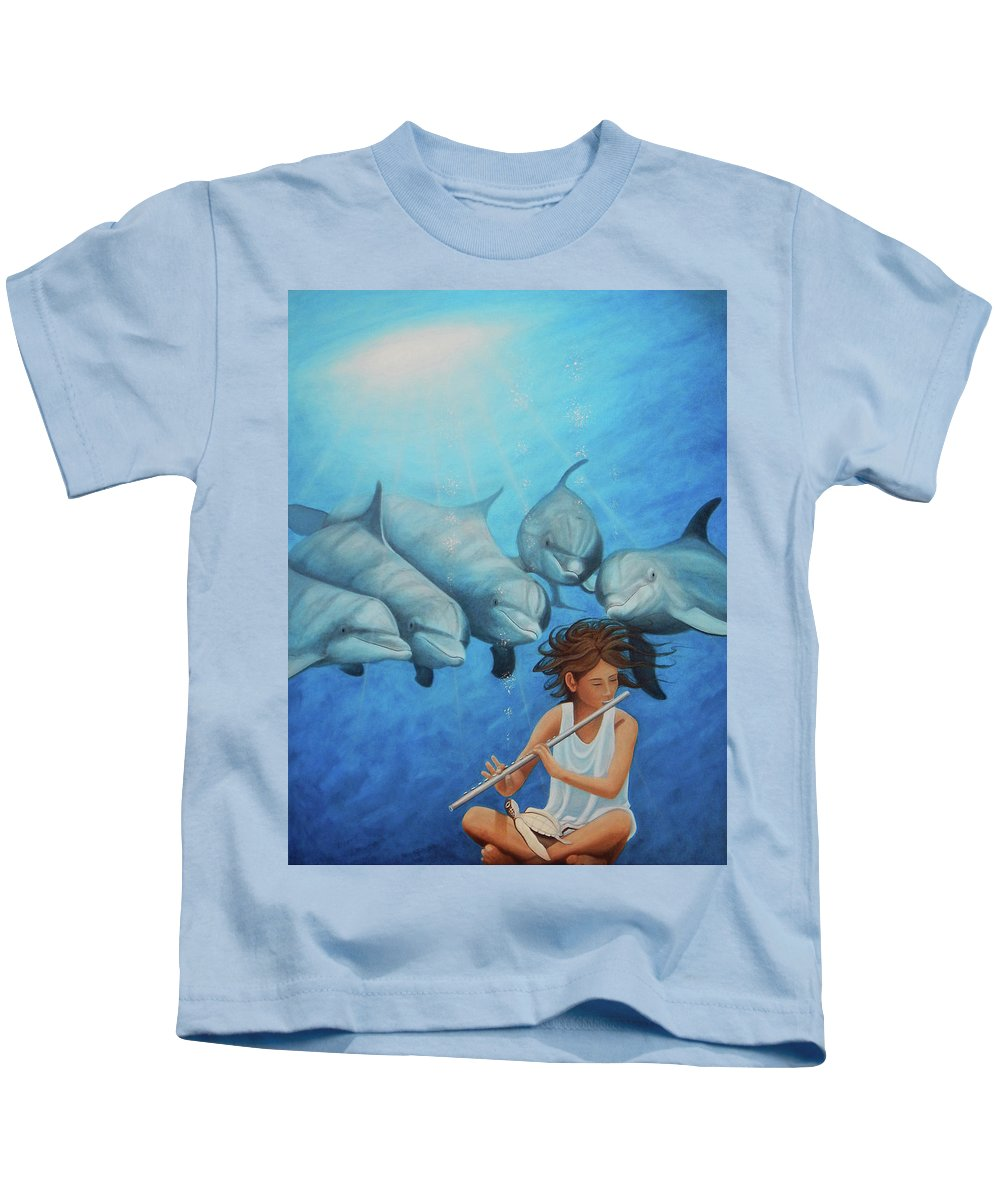 Flute Girl Kids T-Shirt featuring the painting La Flautista by Angel Ortiz