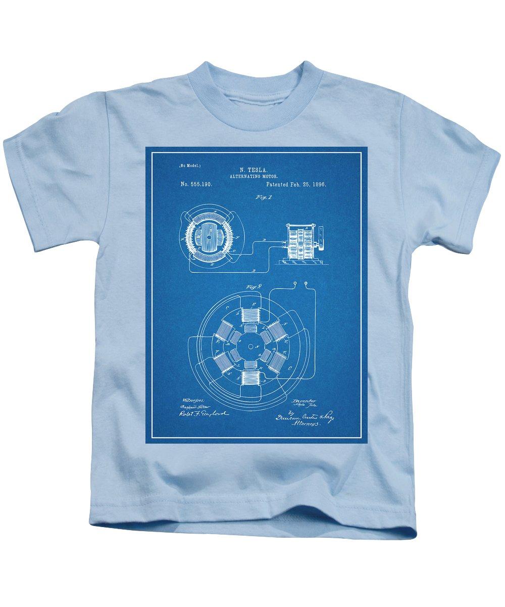 1896 Tesla Alternating Motor Kids T-Shirt featuring the drawing 1896 Tesla Alternating Motor Blueprint Patent Print by Greg Edwards