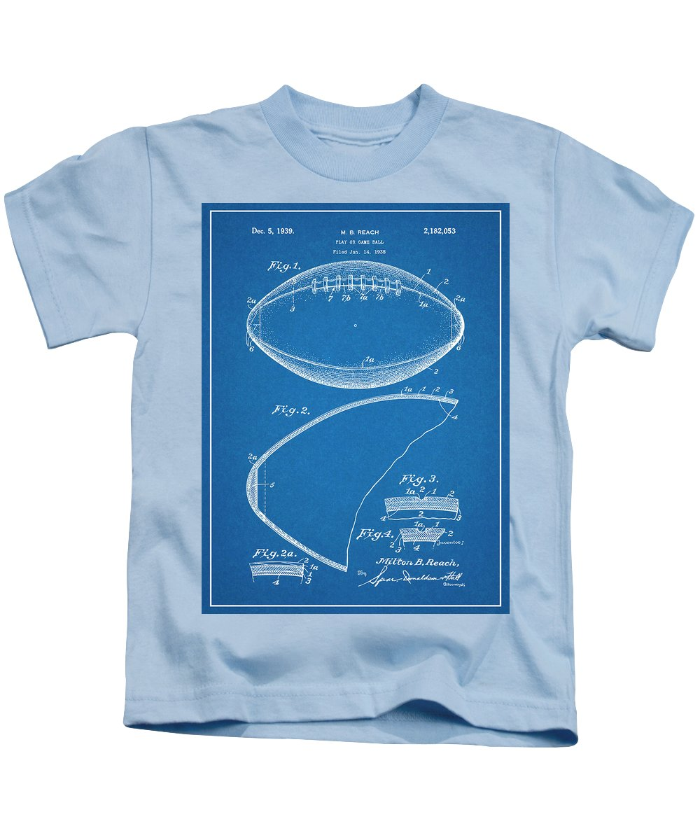 1936 Reach Football Patent Print Kids T-Shirt featuring the drawing 1936 Reach Football Blueprint Patent Print by Greg Edwards