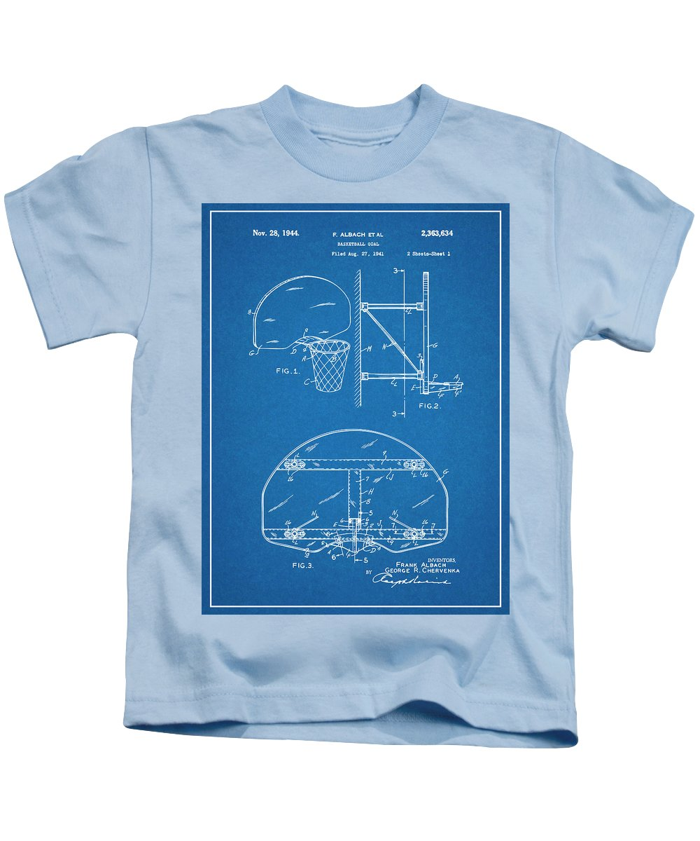 1944 Basketball Goal Patent Print Kids T-Shirt featuring the drawing 1944 Basketball Goal Blueprint Patent Print by Greg Edwards