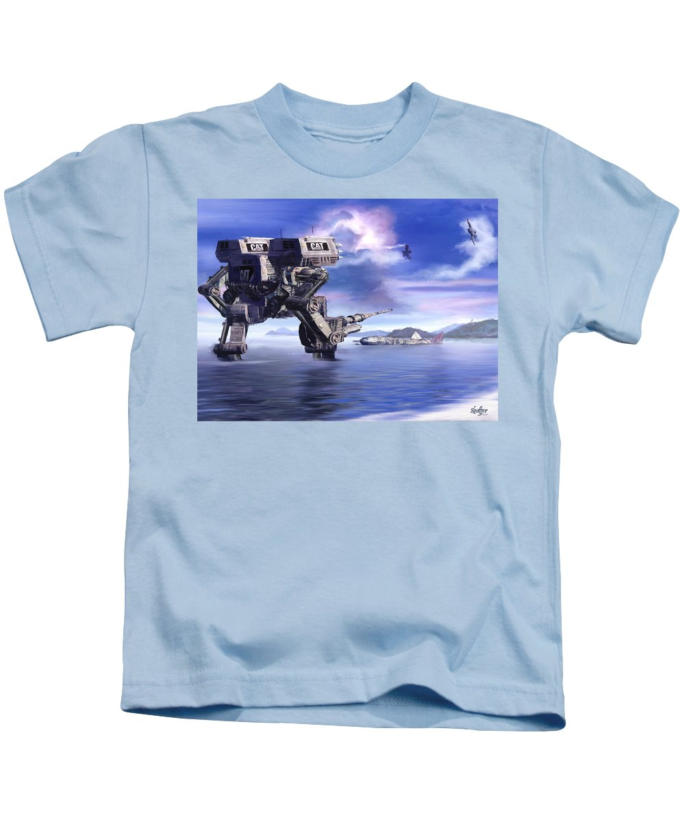 Science Fiction Kids T-Shirt featuring the mixed media 501st Mech Defender by Curtiss Shaffer