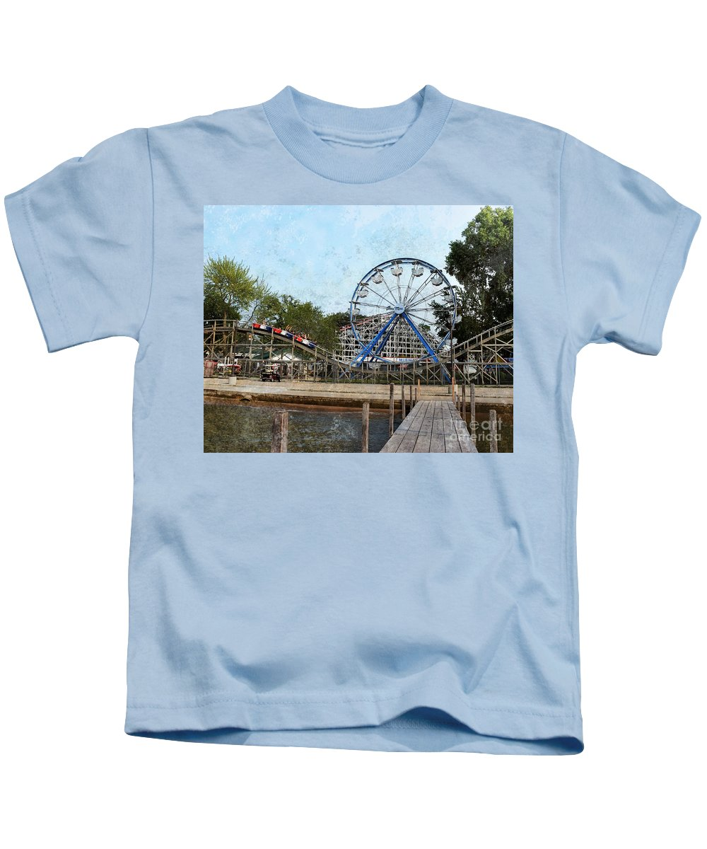 Arnolds Park - Grunge Look Kids T-Shirt featuring the photograph Arnolds Park - Grunge Look by Kathy M Krause