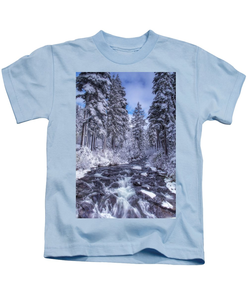 Winter Kids T-Shirt featuring the photograph Blue And White by Judi Kubes