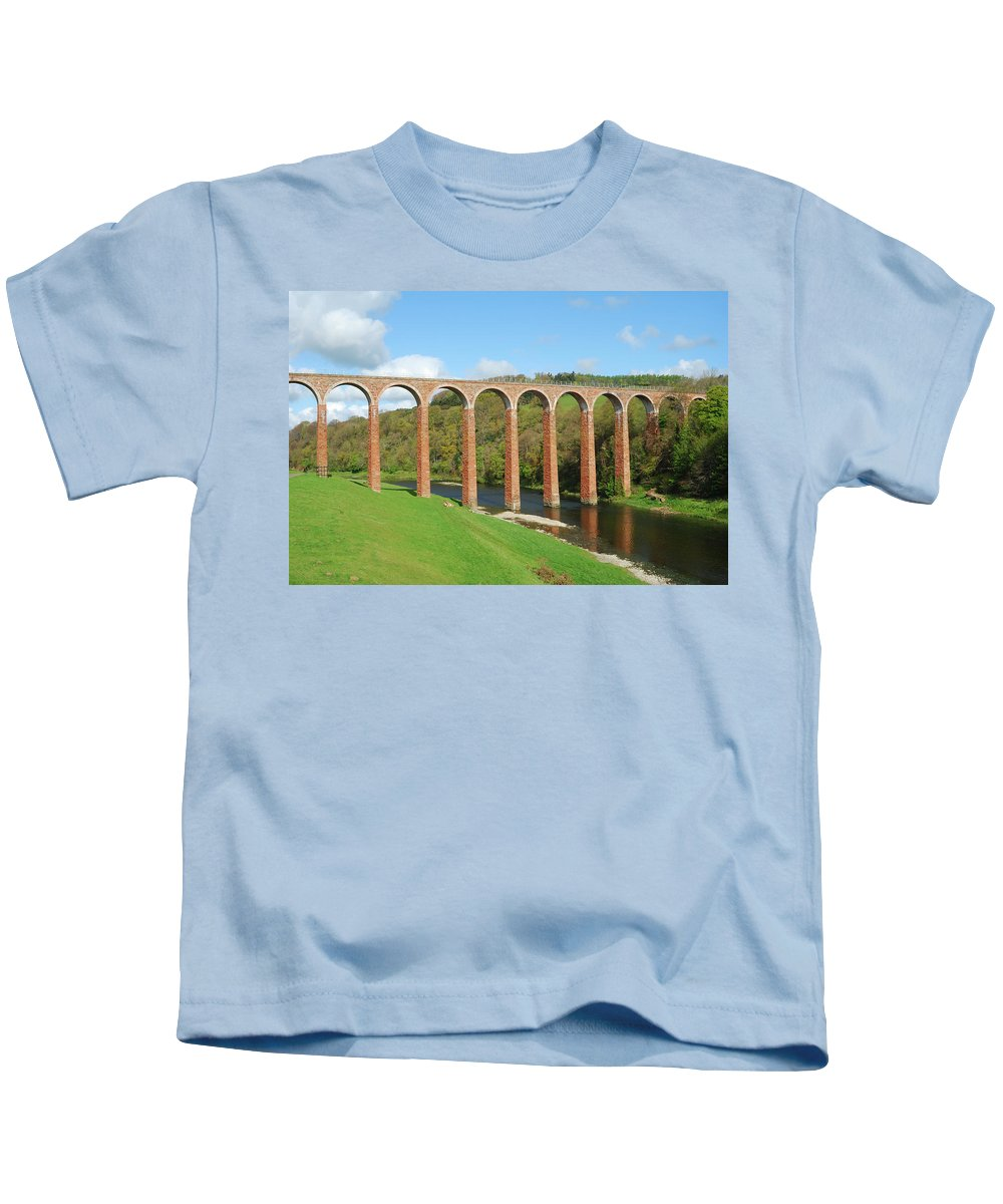Bridge Kids T-Shirt featuring the photograph bridge over river Tweed near Melrose by Victor Lord Denovan