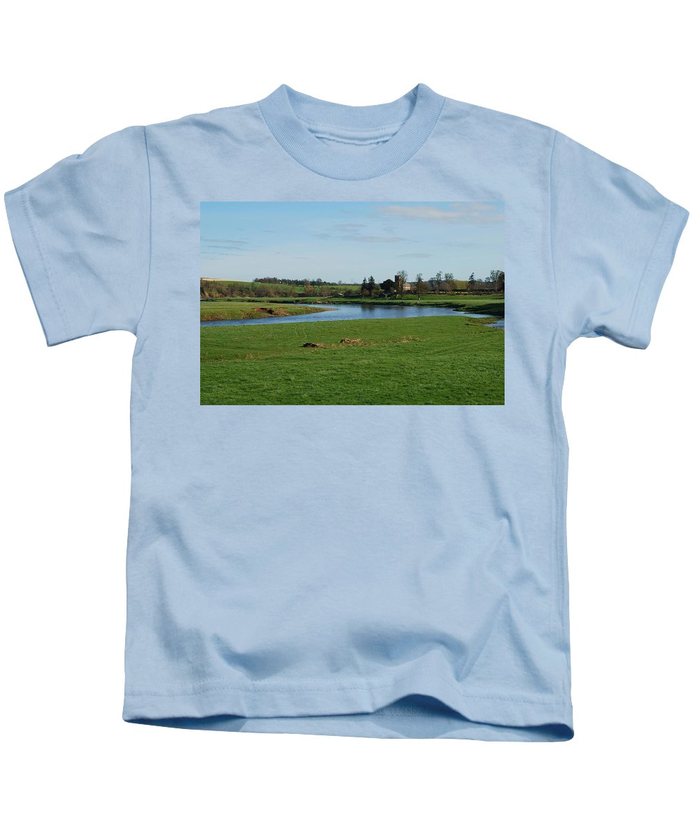Carham Church Kids T-Shirt featuring the photograph Carham Church And River Tweed by Victor Lord Denovan